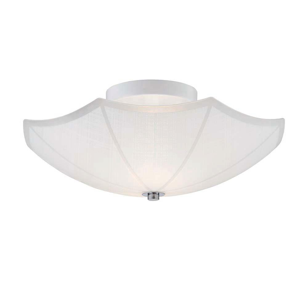 Orly 14 in. 2-Light Chrome Semi-Flushmount with Umbrella Shaped Glass Shade