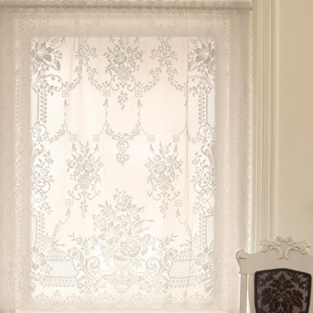 Kensington White Lace Curtain 60 in. W 63 in. L