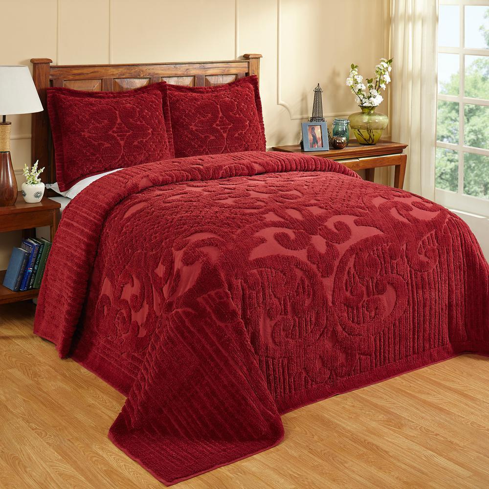 Ashton Collection in Medallion Design Burgundy Twin 100% Cotton Tufted Chenille Bedspread