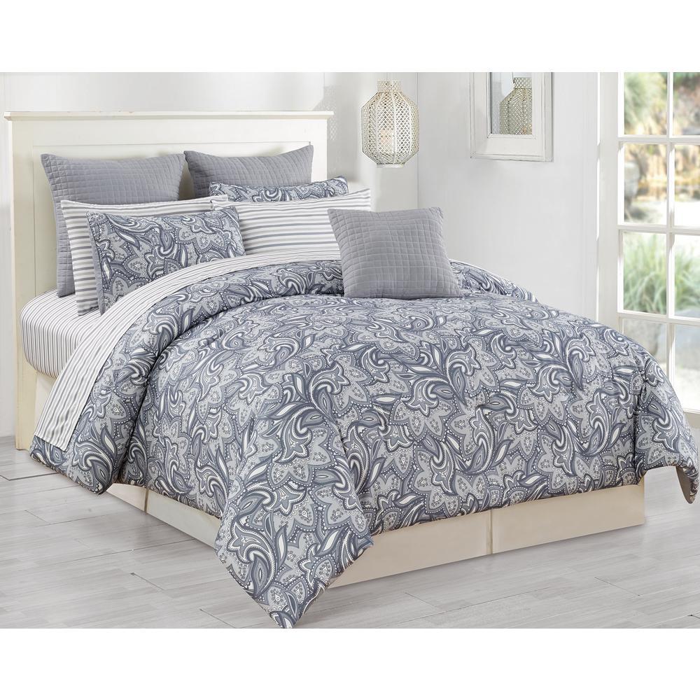 Gray Madeira Comforter Set : Duck river mathylda piece grey queen comforter set
