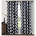 Semi-Opaque Wesley Linen Blend Extra Wide 84 in. L Grommet Curtain Panel Pair, Navy (Set of 2)