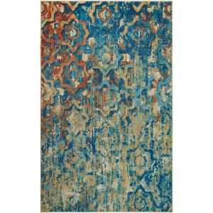 Bodhi Blue 10 ft. x 14 ft. Abstract Area Rug