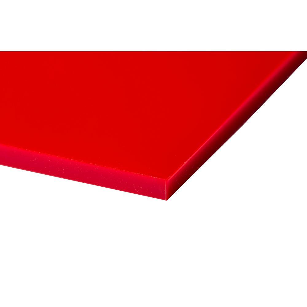 Plexiglas Plexiglas 48 in. x 96 in. x 0.118 in. Red Acrylic Sheet