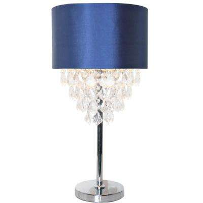 Navy Table Lamp With Tiered Crystals And Chrome Base