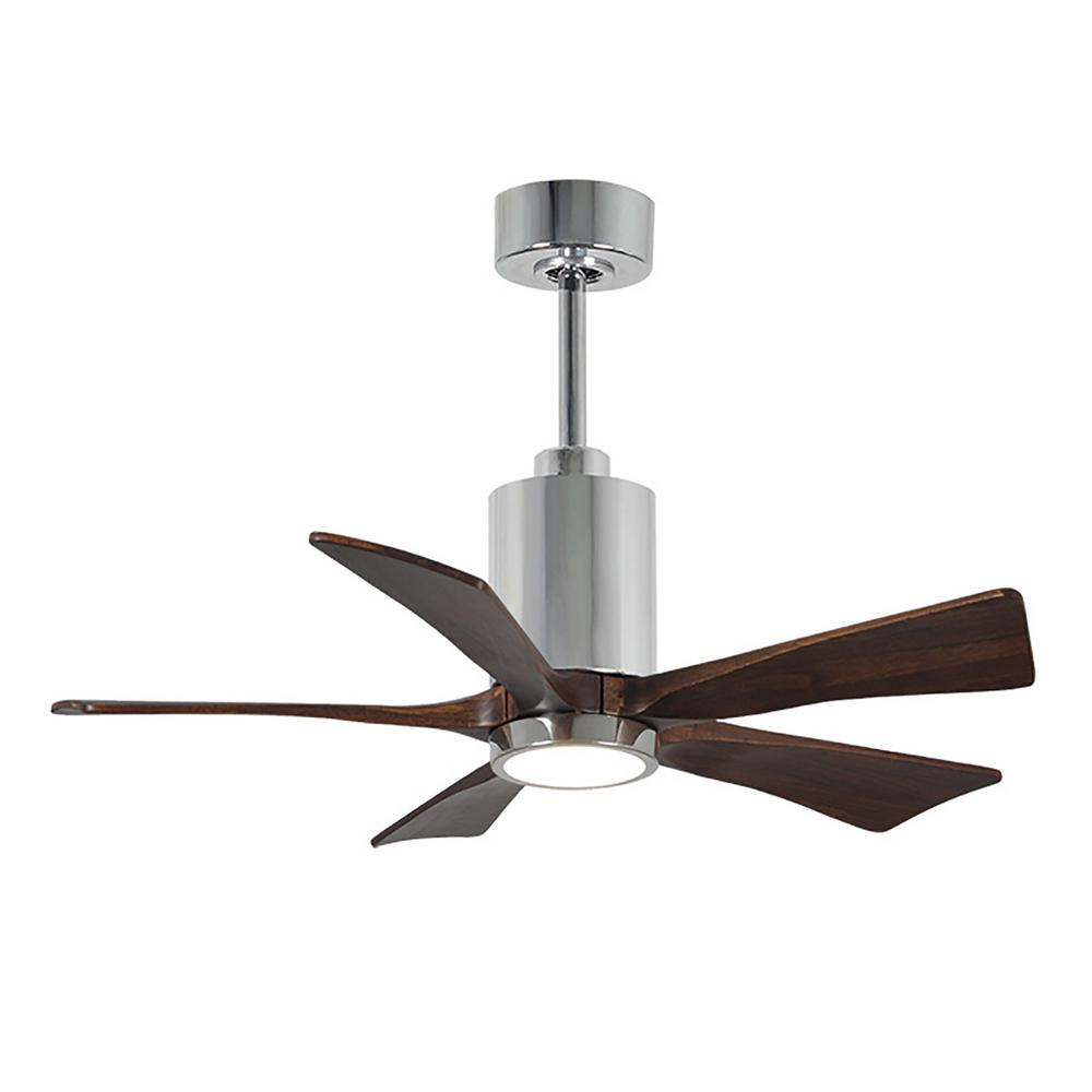 Patricia 42 in. LED Indoor/Outdoor Damp Polished Chrome Ceiling Fan with Remote Control, Wall Control