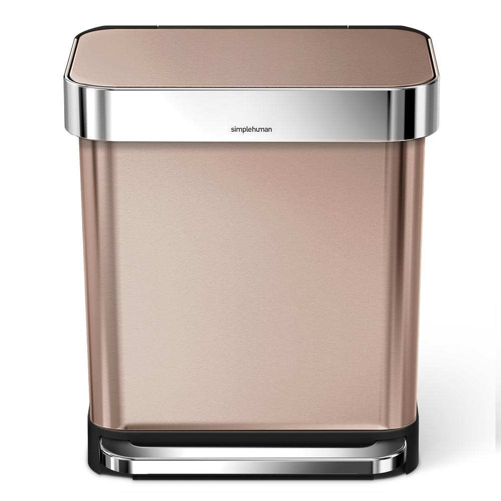 simplehuman 7.9 Gal. Rose Gold Stainless Steel Rectangula...
