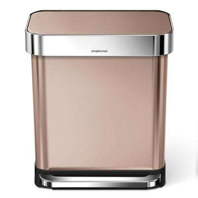 7.9 Gal. Rose Gold Stainless Steel Rectangular Liner Rim Step Can