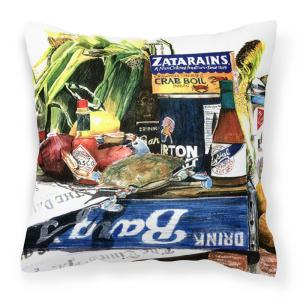 14 in. x 14 in. Multi-Color Lumbar Outdoor Throw Pillow Crab in the Middle Decorative Canvas Fabric Pillow