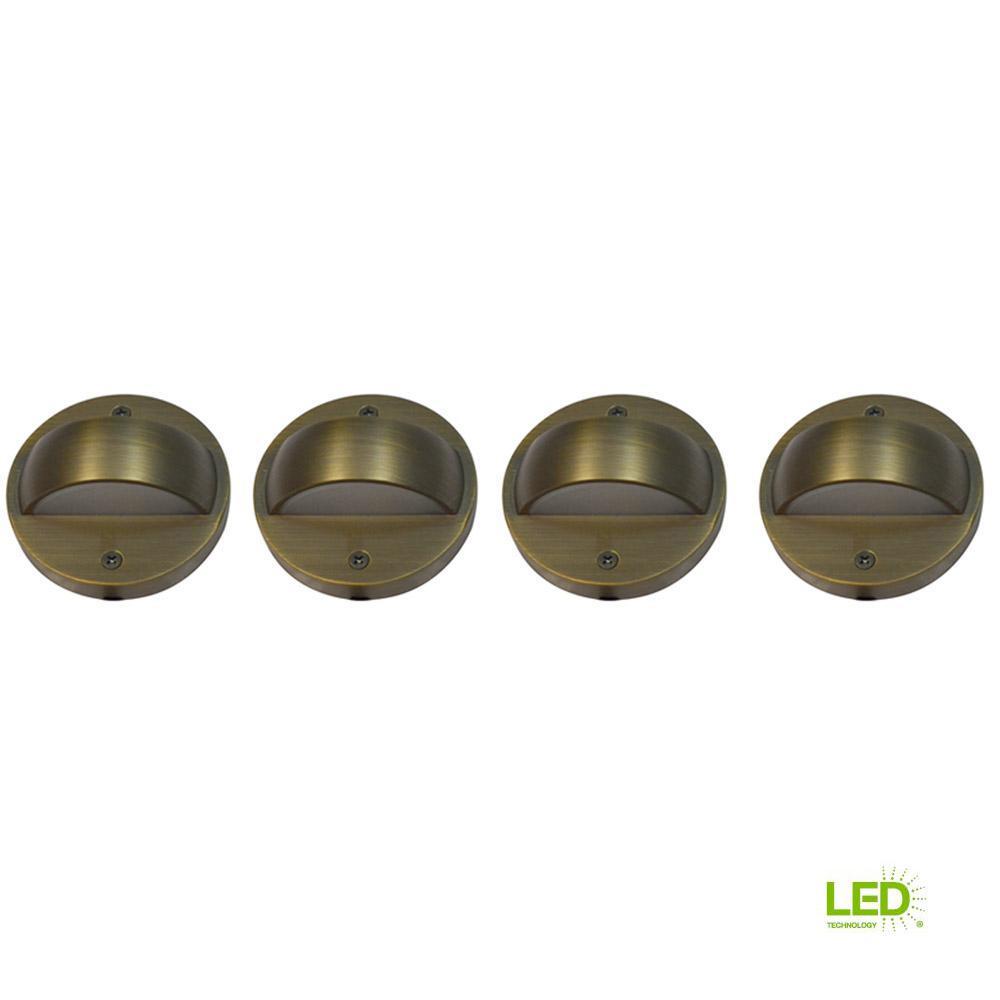 6-Watt Brass Outdoor Integrated LED 2700K White Warm Landscape Deck Light (4-Pack)