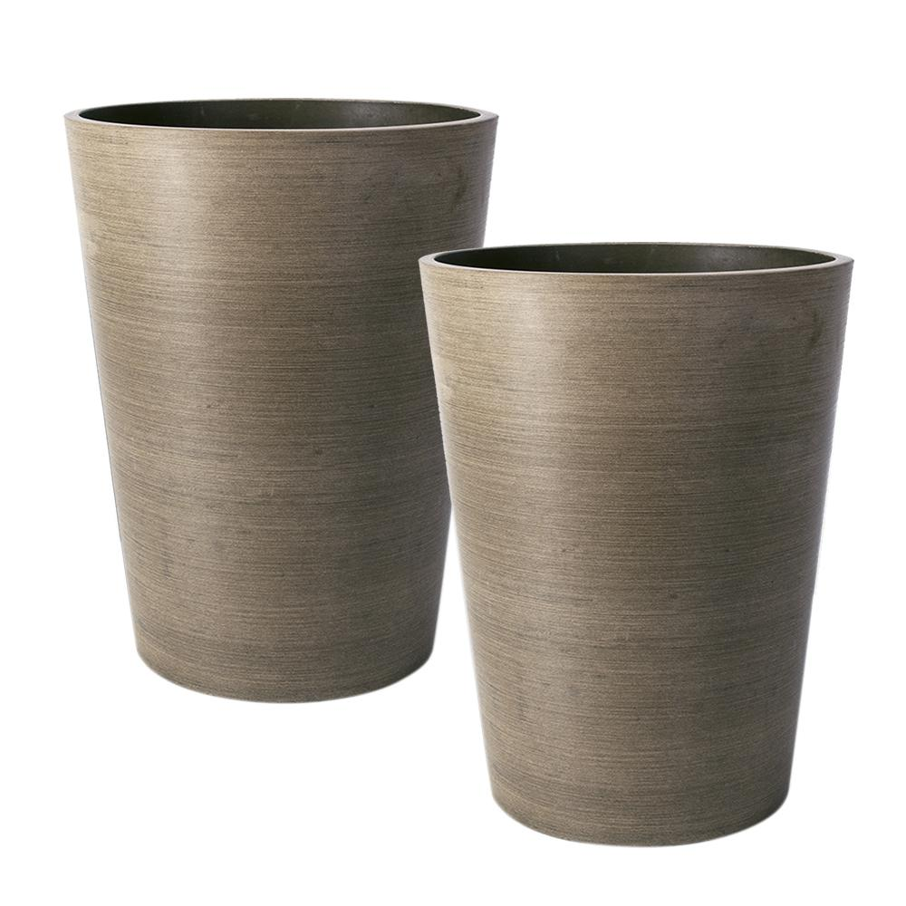 Algreen Valencia 8 in. x 11 in. Round Taper Textured Taupe  Polystone Planter (2-Pack)