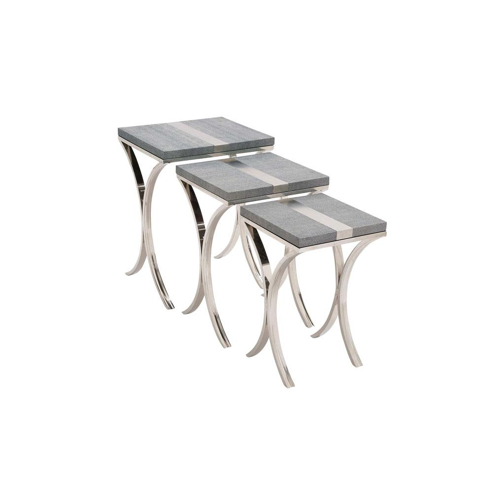 Gray Leather Rectangular Nesting Tables with Silver Band Accents and Legs