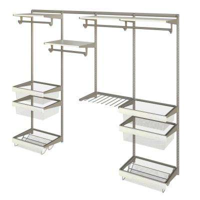 Closet Culture 16 in. D x 96 in. W x 78 in. H  with 4 White Oak Wood Shelves Steel Closet System