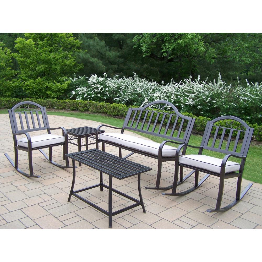 5-Piece Metal Outdoor Rocking Chair Seating Set with Tan Cushions