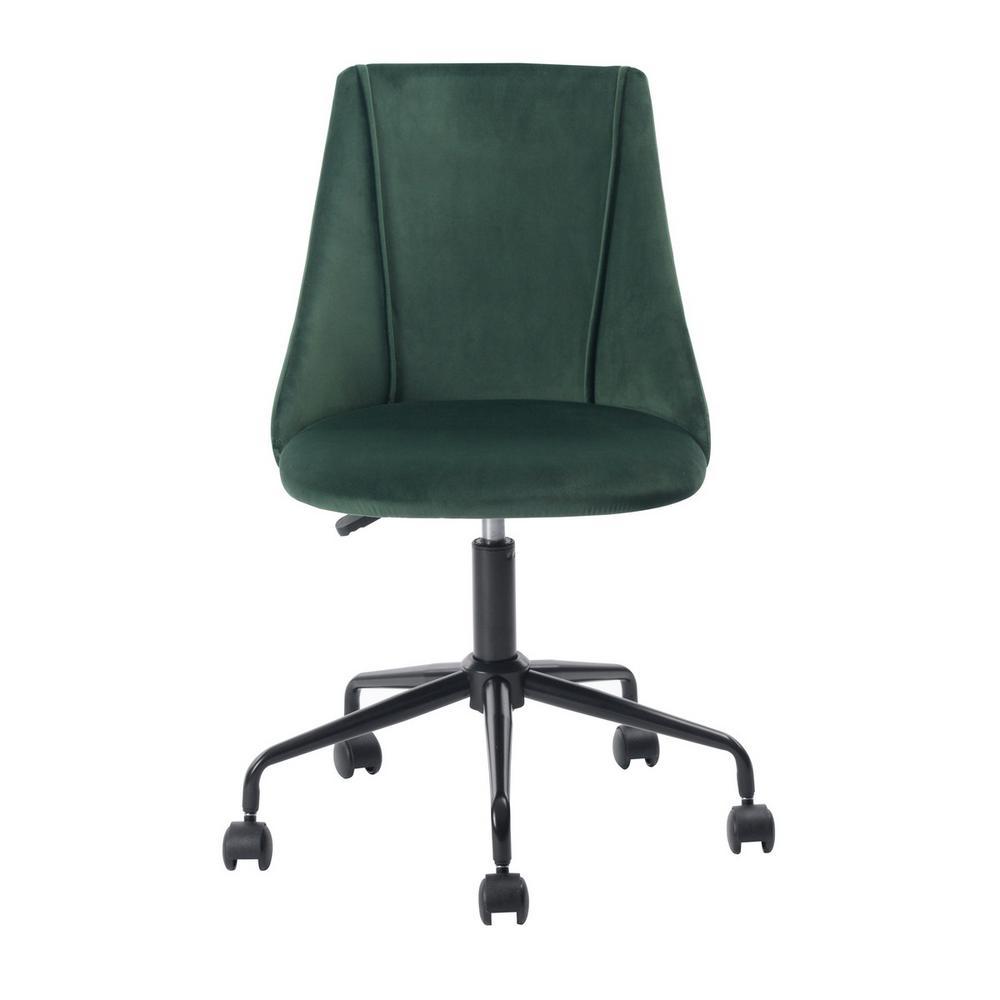 Cian Green Velvet Swivel Office Desk Chair