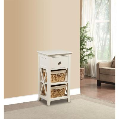 Basket Bathroom Storage Wood Cabinet in White