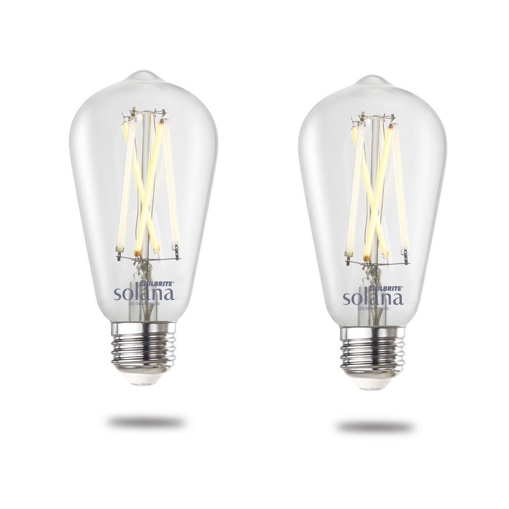 Bulbrite Solana 60 Watt Equivalent ST18 Smart WIFI Connected 90CRI LED Edison Filament Light Bulb, 2PK