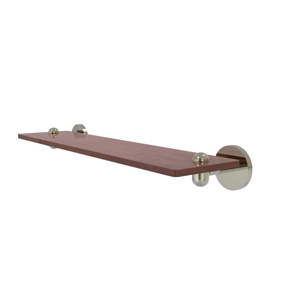 Allied Brass Tango Collection 22 in. Solid IPE Ironwood Shelf in Polished Nickel