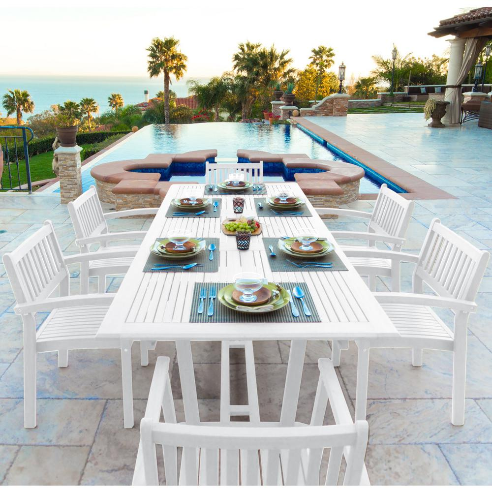 Braley 7-Piece Wood Rectangular Outdoor Dining Set