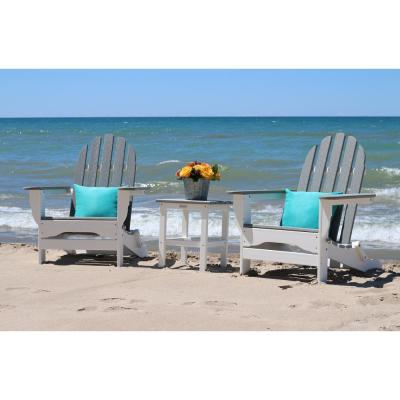 Icon White and Driftwood Plastic Folding Adirondack Chair with Side Table (2-Pack)
