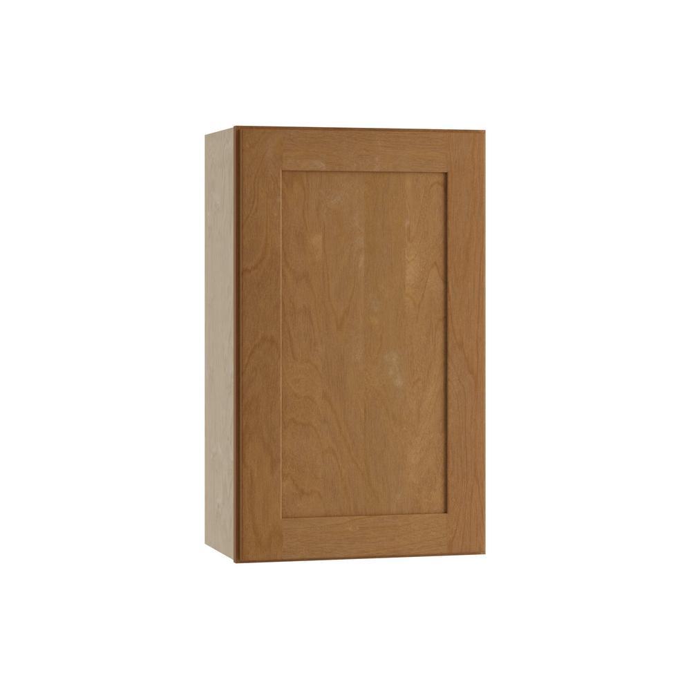 Hargrove Assembled 18x30x12 in. Wall Single Door Cabinet in Cinnamon