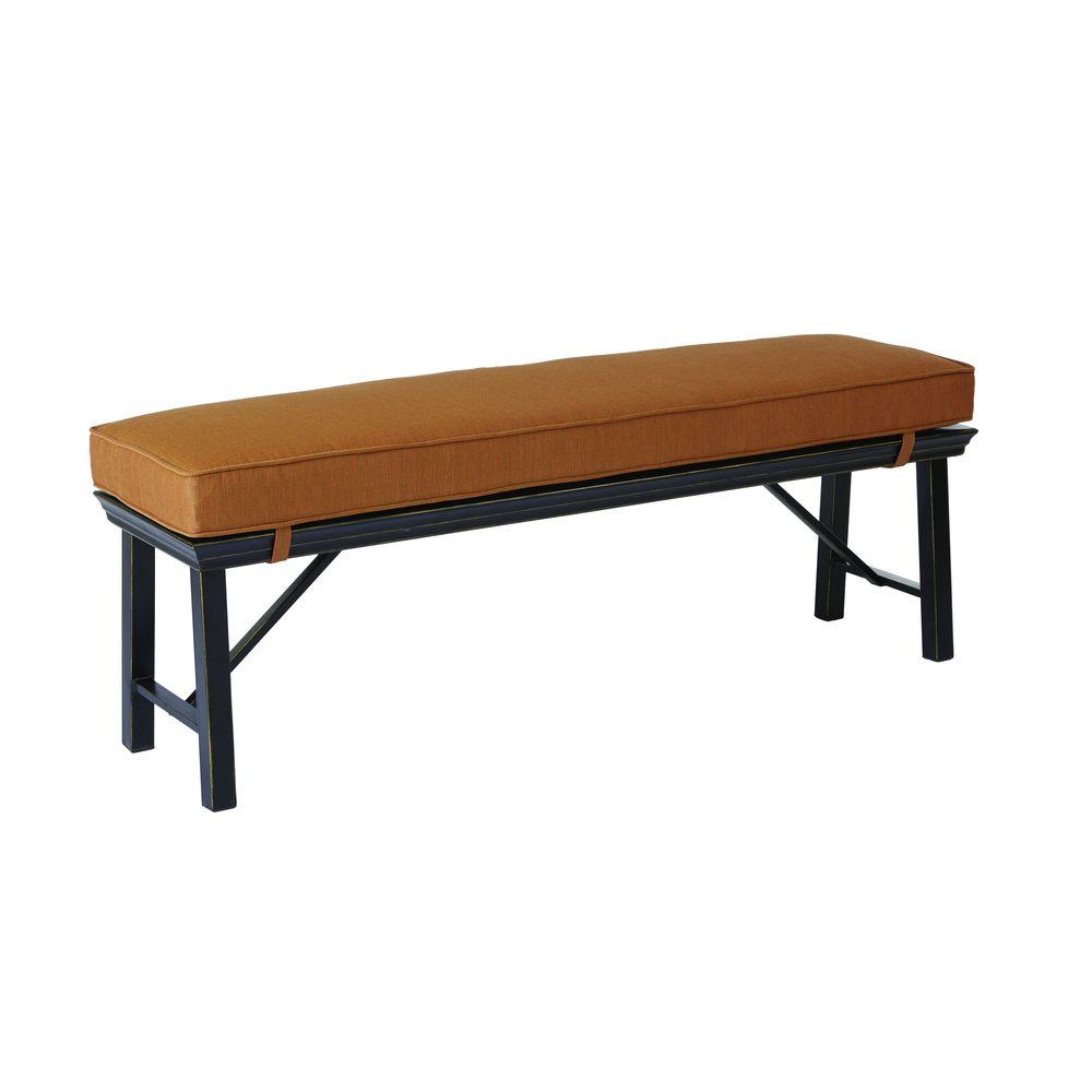 Hampton Bay Oak Heights Metal Outdoor Patio Bench With Cashew  Cushion D12237 CH   The Home Depot