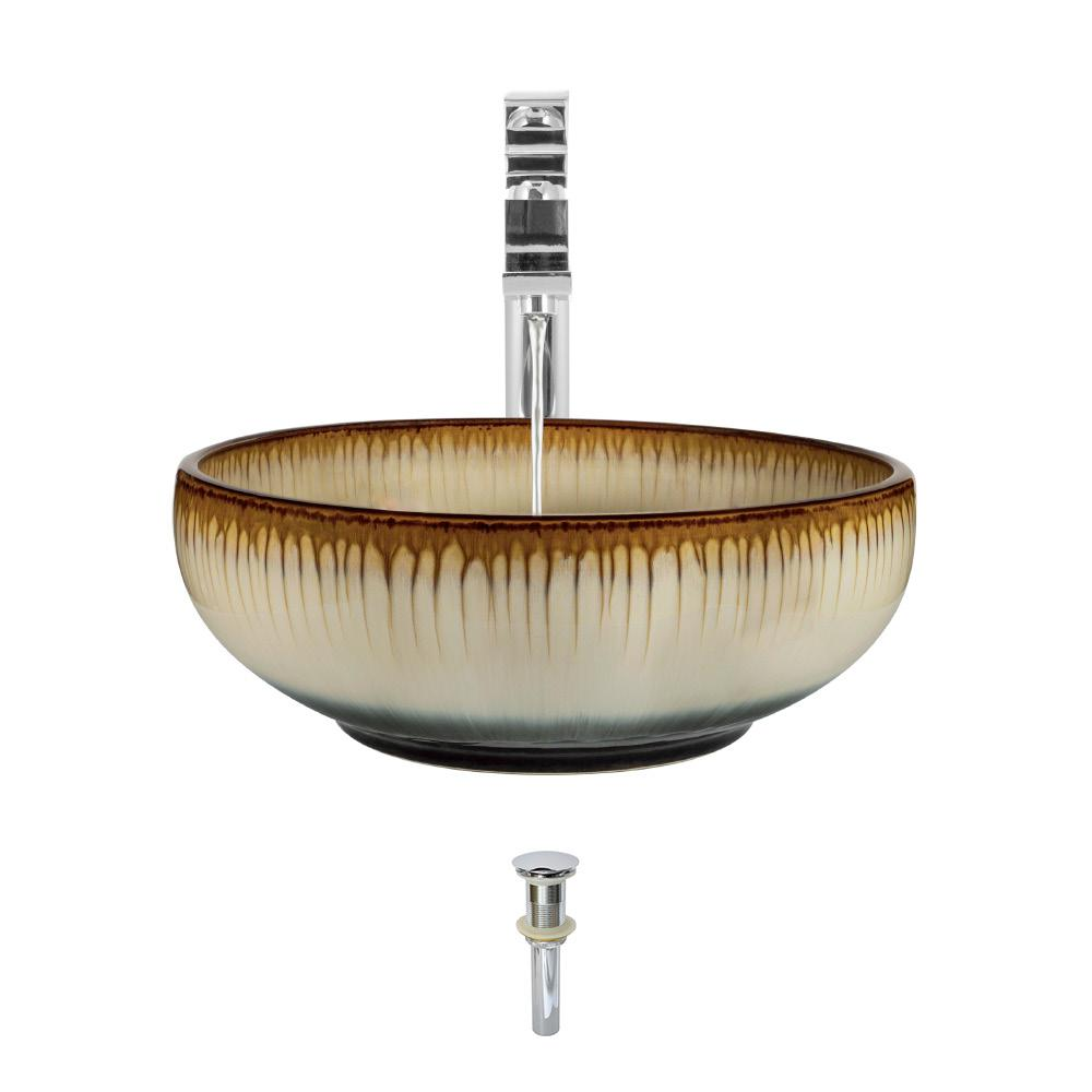 Ceramic Vessel Sink in White and Black with 721 Faucet and