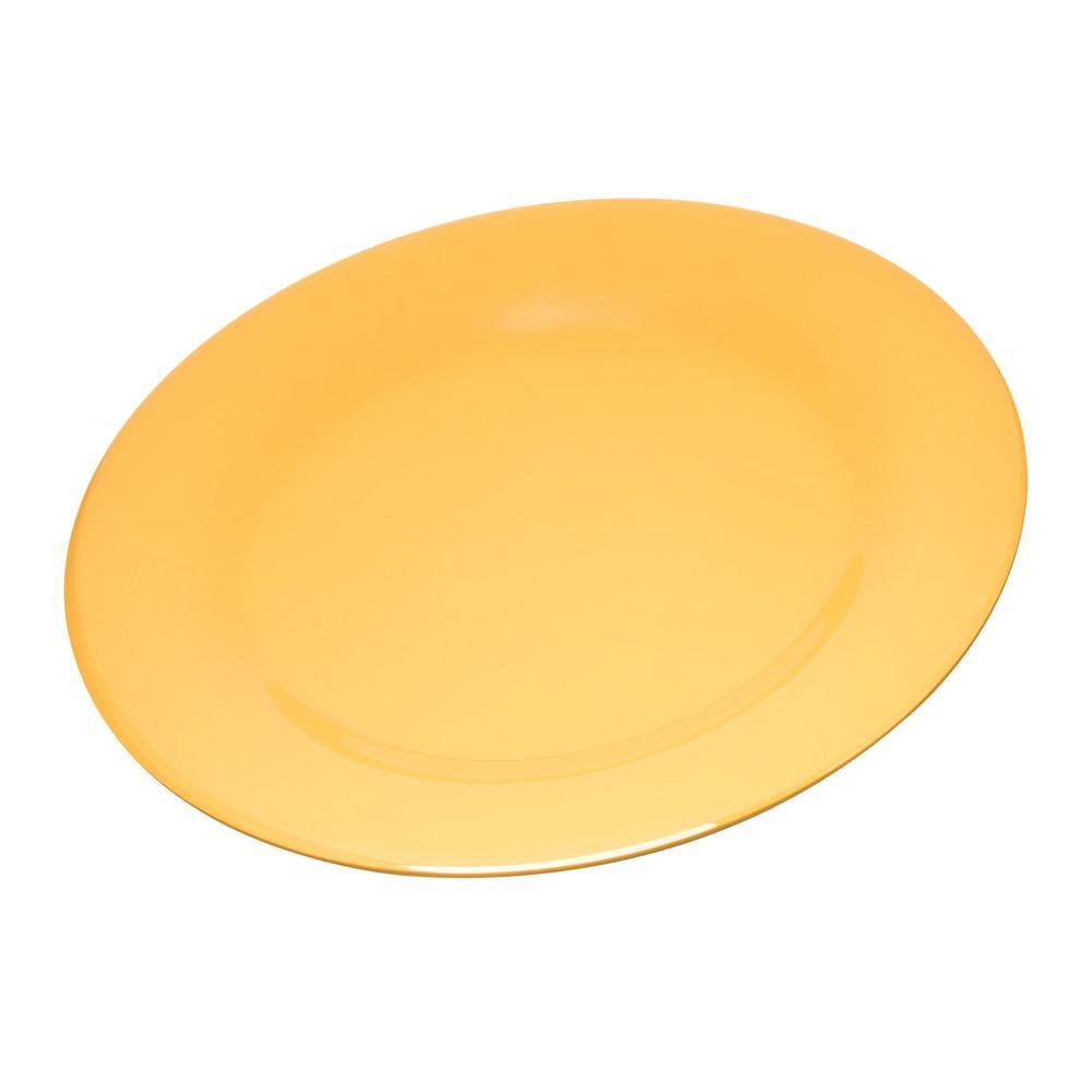 Carlisle Durus 10.5 in. Honey Yellow Melamine Wide Rim Dinner Plate