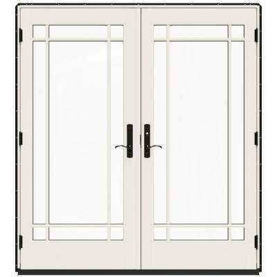 72 in. x 80 in. W-4500 Black Clad Wood Left-Hand 9 Lite French Patio Door w/White Paint Interior
