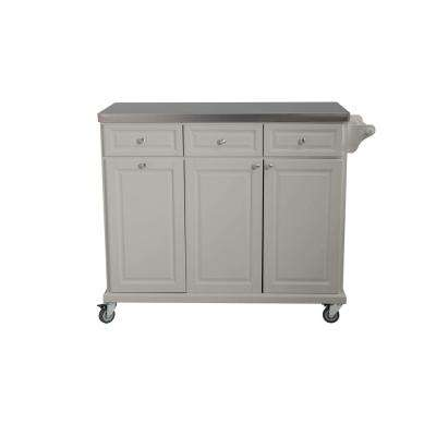 Buckhead Gray Body with Stainless Steel Top Kitchen Cart with 1-Towel Bar 3-Drawers and 3-Cabinets
