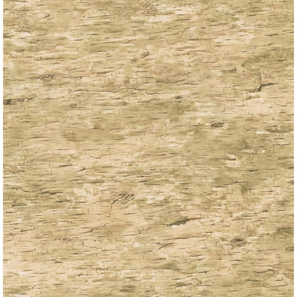 Brewster Northwoods Lodge Beige Birchbark Wallpaper Sample