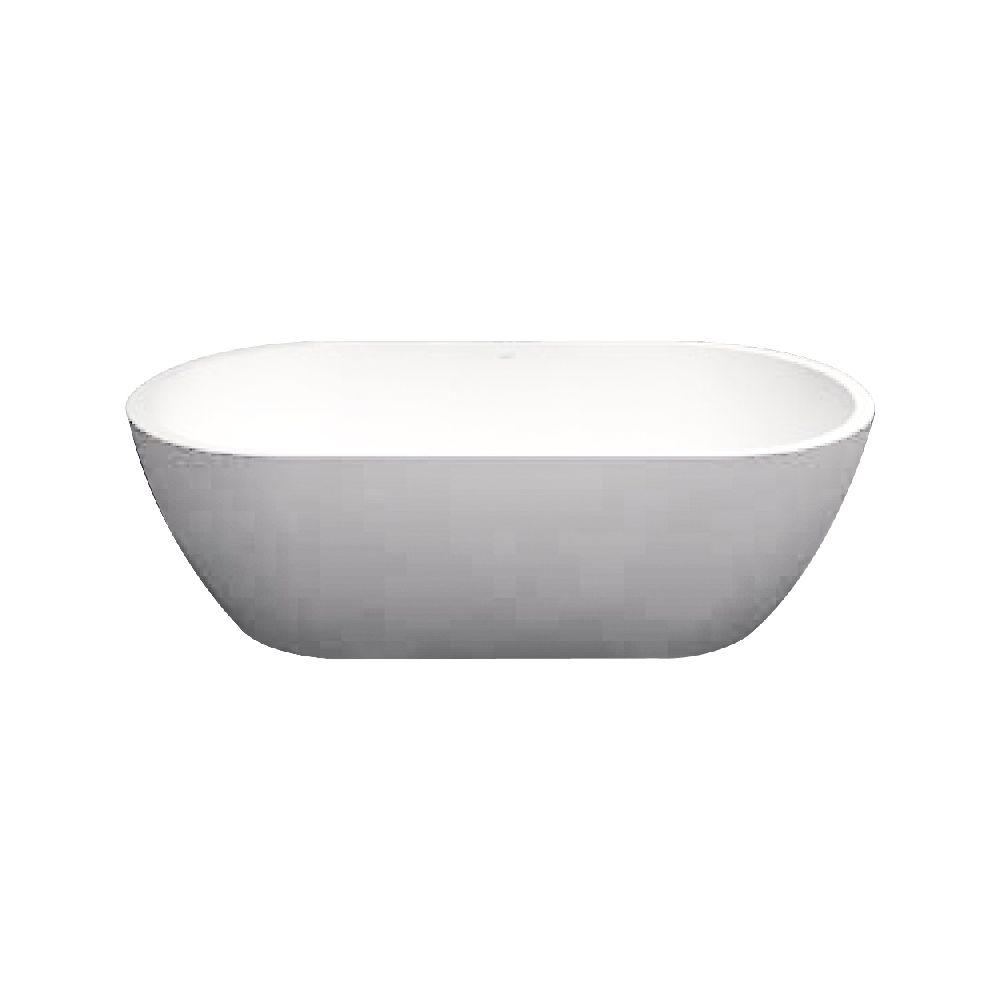 Transolid Sherwood 63 in. Solid Surface Freestanding Bathtub in White