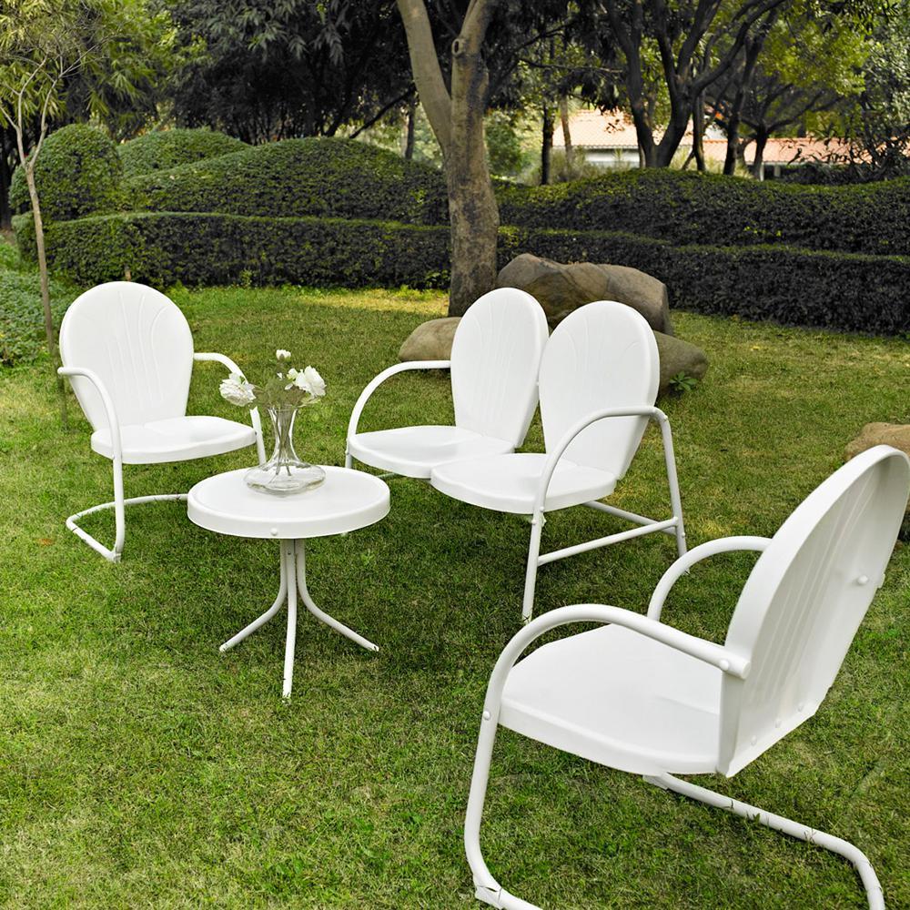 Griffith white 4 piece metal patio conversation set
