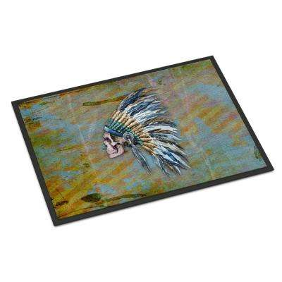 18 in. x 27 in. Indoor/Outdoor Day of The Dead Indian Chief Skull Door Mat