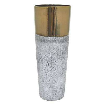 Gold and Gray Decorative Ceramic Vase