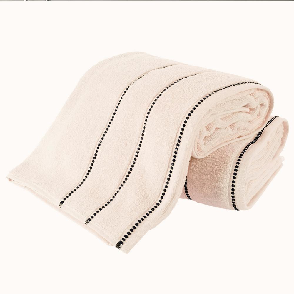 2-Piece 100% Zero Twist Cotton Bath Sheet Set in Bone and White