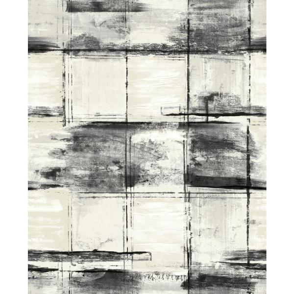 Curie Distressed Geometric Metallic Ivory and Ebony Paper Strippable Roll (Covers 56 sq. ft.)
