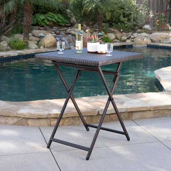 Emmett Multibrown Square Wicker Outdoor Bistro Table