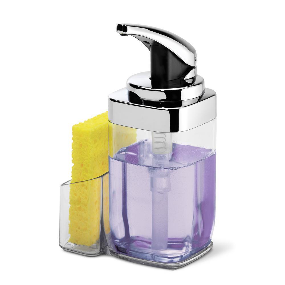 22 oz. Square Push Pump Soap Dispenser with Sponge Caddy, Chrome
