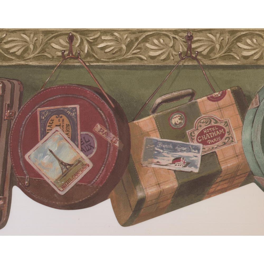 Vintage Suitcases Bags Hanging On Hooks Olive Green Prepasted Wallpaper Border