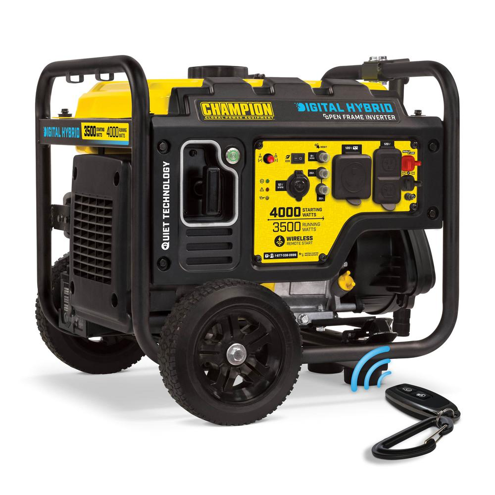 Champion Power Equipment DH Series 4000-Watt Gasoline Powered Remote Start Open Frame Inverter Generator with 224cc Engine