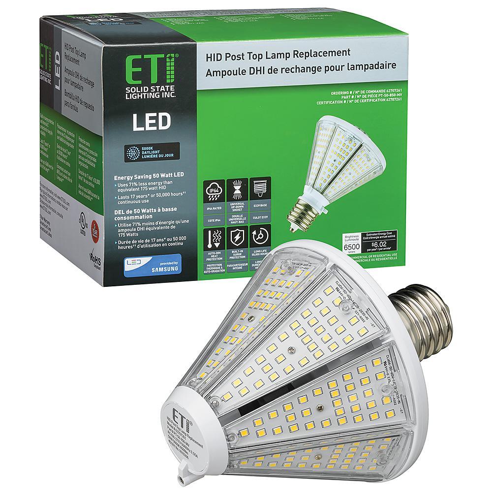 ETi 175-Watt Equivalent Post Top LED Light HID Lamp Replacement EX39 Mog 50-Watt 3900 Lumens 5000K Daylight