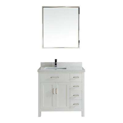 Kalize II 36 in. W x 22 in. D Vanity in White with Engineered Vanity Top in White with White Basin and Mirror