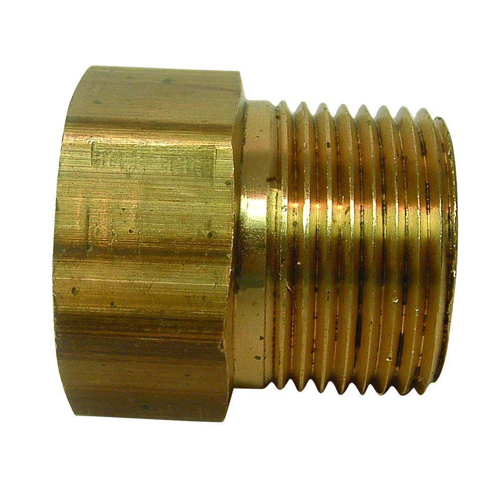 Lead-Free Brass Garden Hose Adapter 3/4 in. FGH x 3/4 in. MIP x Tapped 1/2 in. FIP