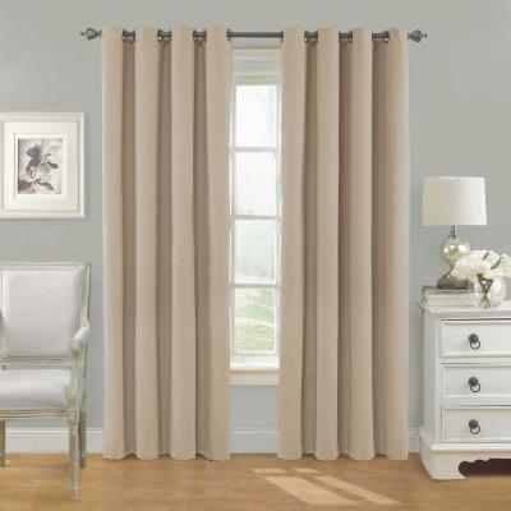 Nadya Solid Blackout Window Curtain Panel in Linen - 52 in. W x 84 in. L