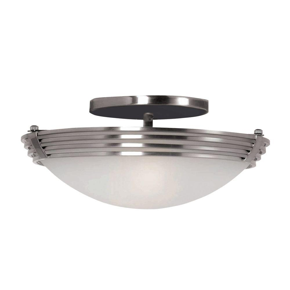 Kenroy Home Lumix 2-Light Brushed Steel Semi Flush-DISCONTINUED
