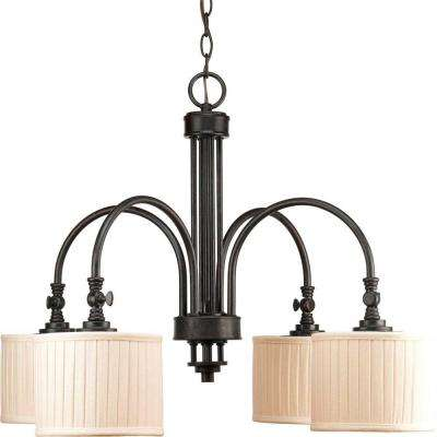Clayton Collection 4-Light Espresso Chandelier with Cream Pleated Linen Shade