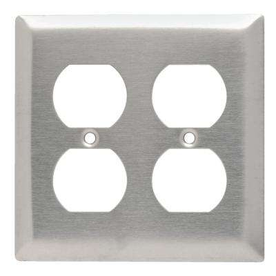 302 Series 2-Gang Duplex Wall Plate in Stainless Steel