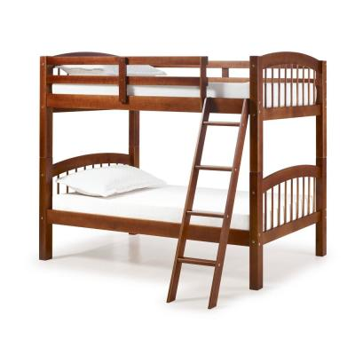 Spindle Chestnut Twin Over Twin Wood Bunk Bed