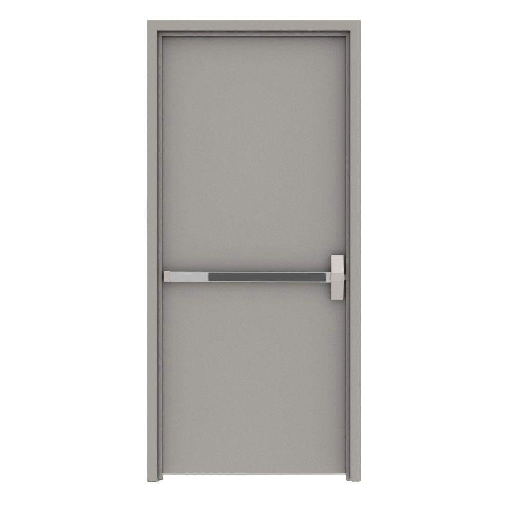 36 in. x 84 in. Gray Flush Exit Left-Hand Fire Proof