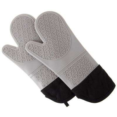 Merveilleux Silicone Gray Oven Mitts With Quilted Lining (2 Pack)